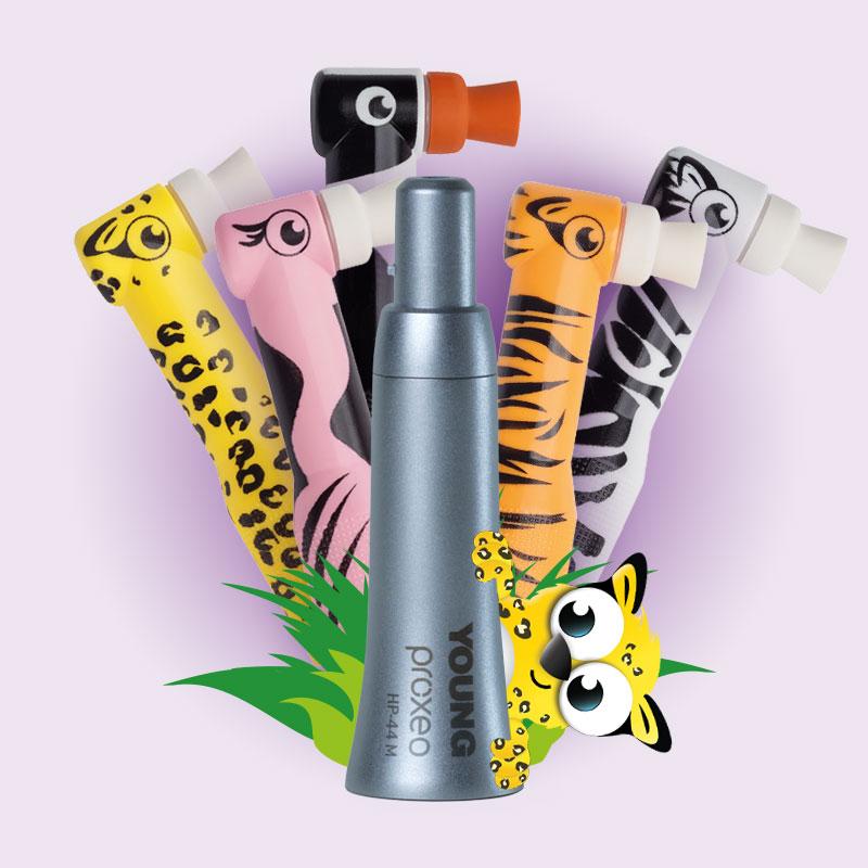 Zooby Einweg-Prophylaxe-Winkelstücke mit Tiermotiven und einem Prophylaxe Handstück
